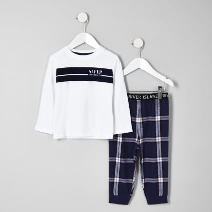Mini boys white 'all weekend' pyjama set
