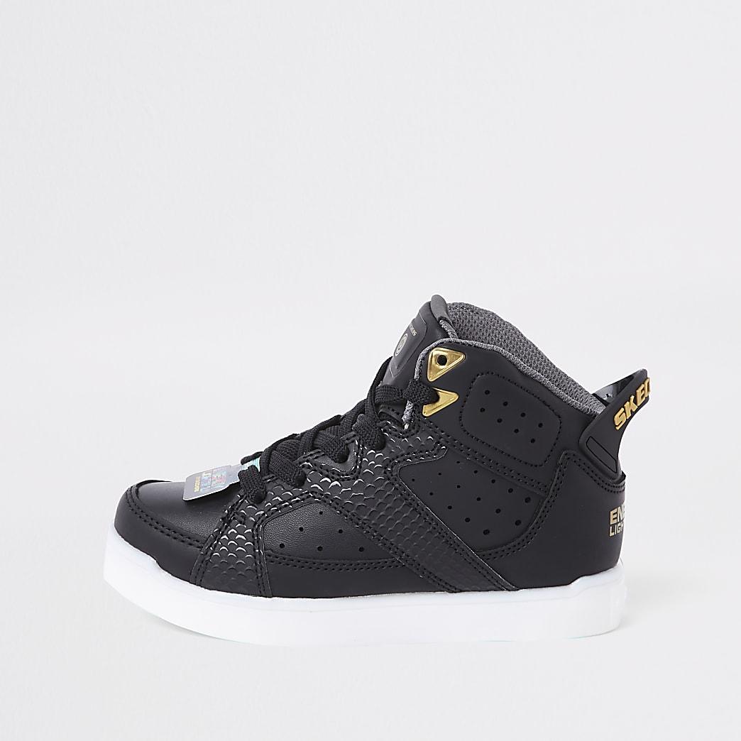 Skechers– Baskets  clignotantes noires pour garçon