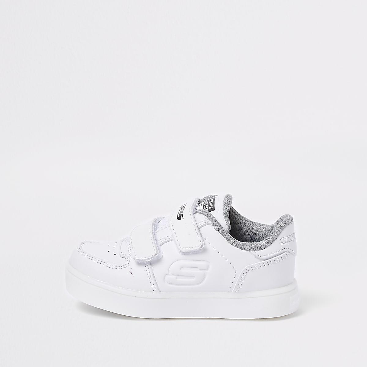 Mini boys Skechers white light-up sneakers
