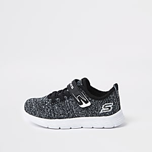 Mini boys Skechers black knit trainers