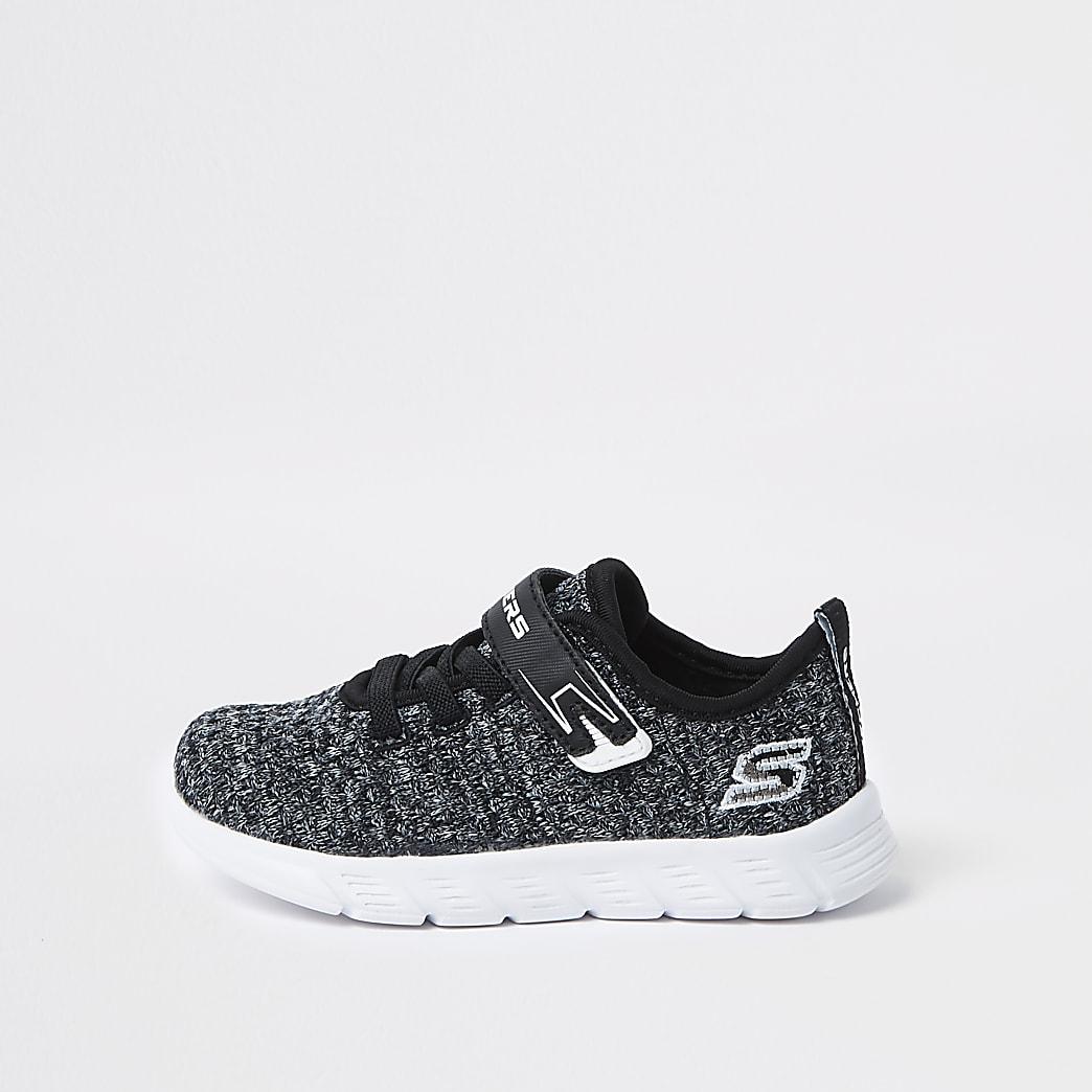 Mini - Skechers - Zwarte gebreide sneakers voor jongens