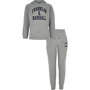 Franklin & Marshall - Outfit met grijze hoodie voor jongens