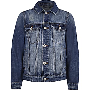 Boys blue distressed denim jacket