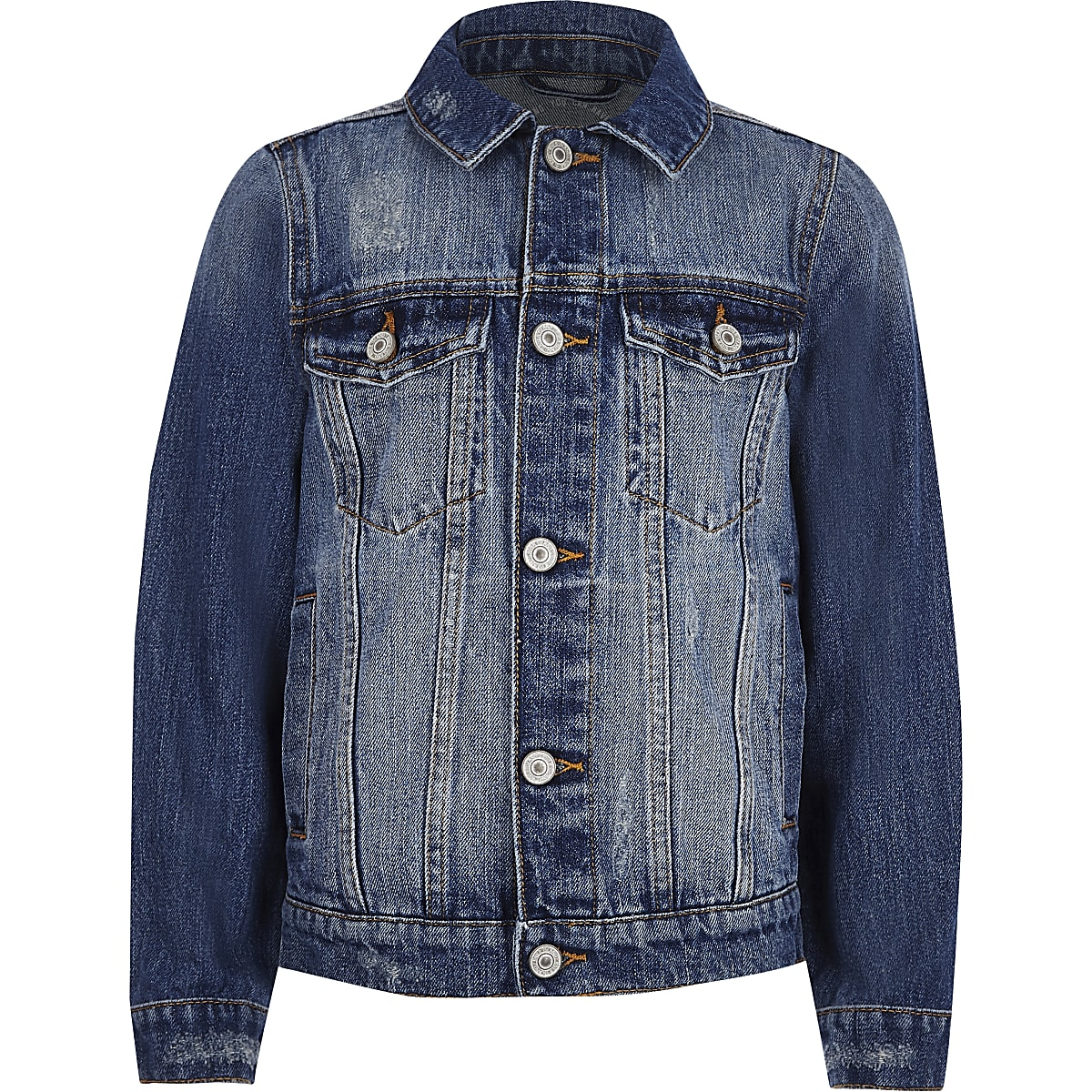 Boys blue distressed denim jacket