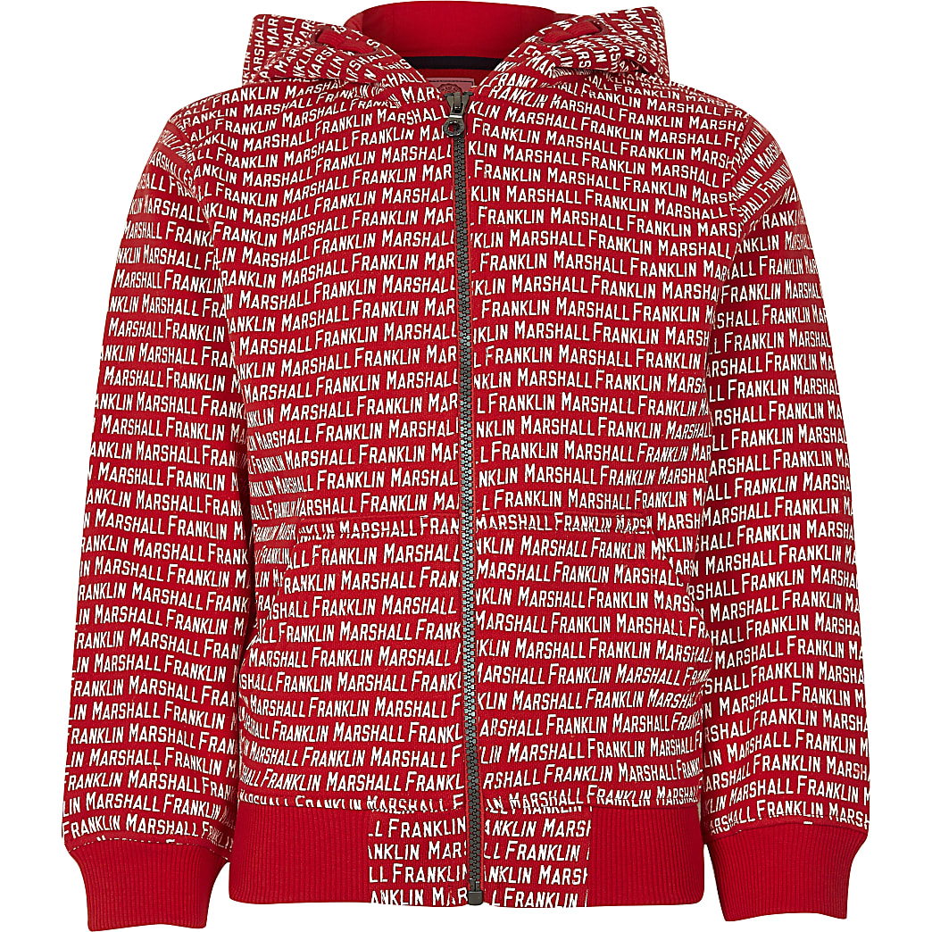 Boys Franklin & Marshall red monogram hoodie