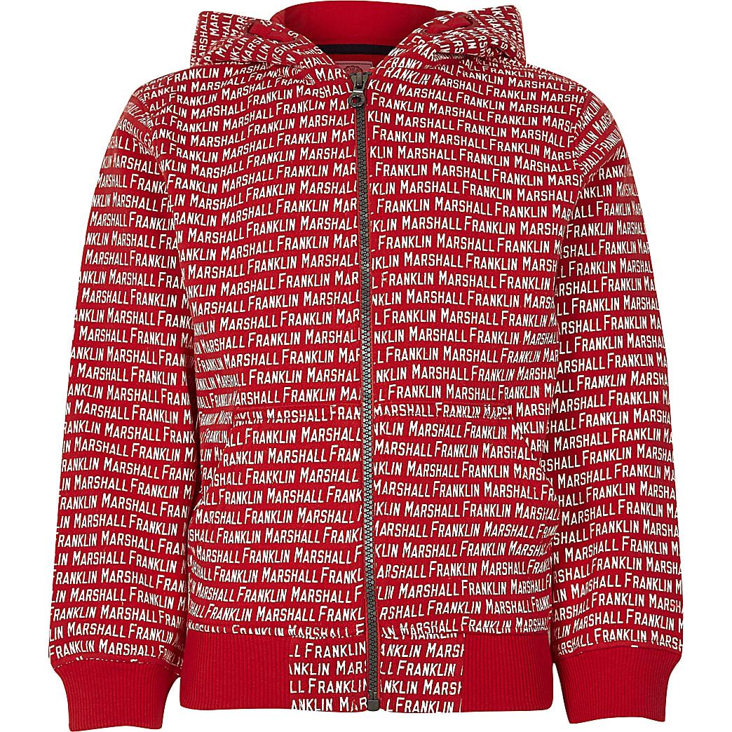Franklin & Marshall – Sweat à capuche rouge avec monogramme pour garçon