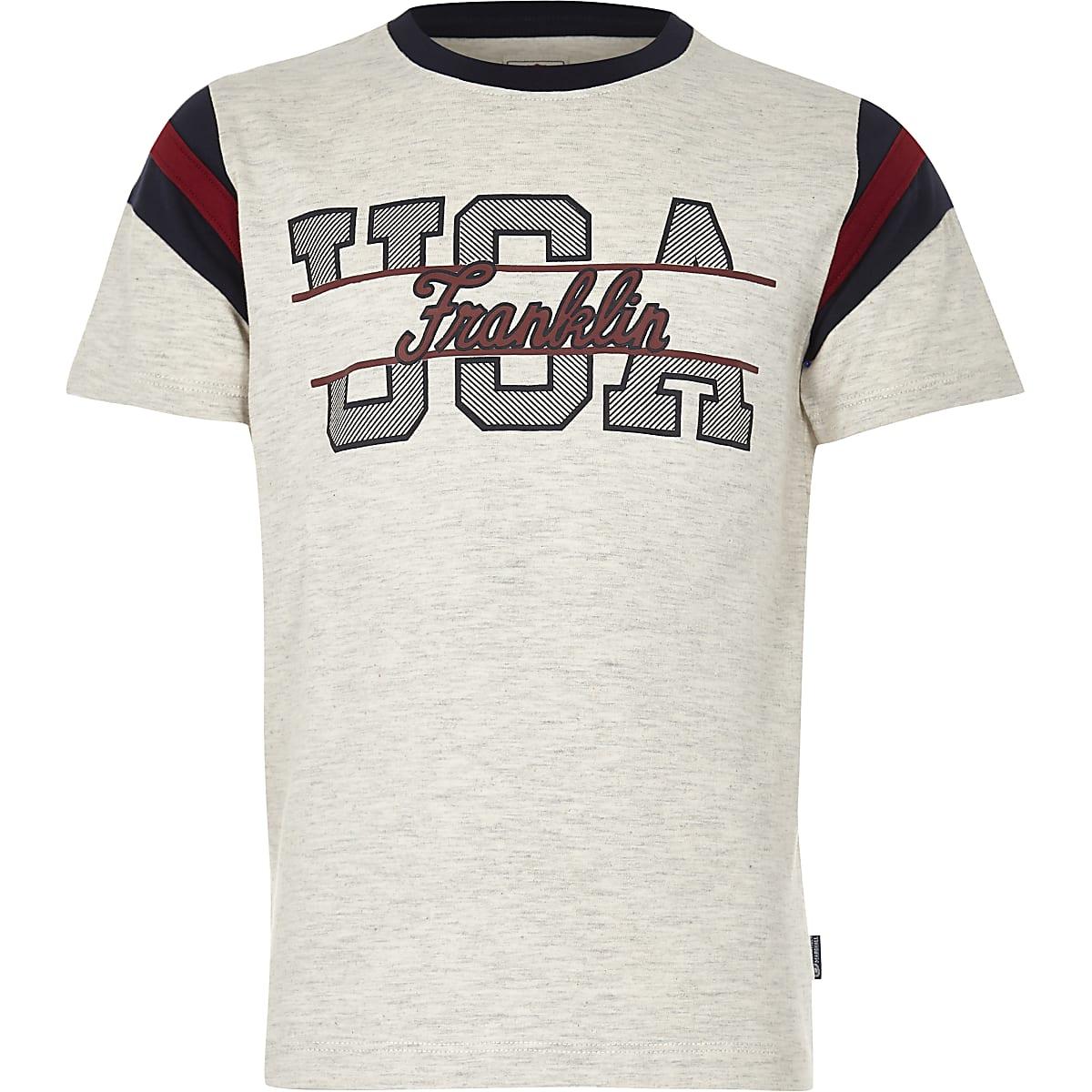 "Franklin & Marshall – Meliertes T-Shirt ""USA"""
