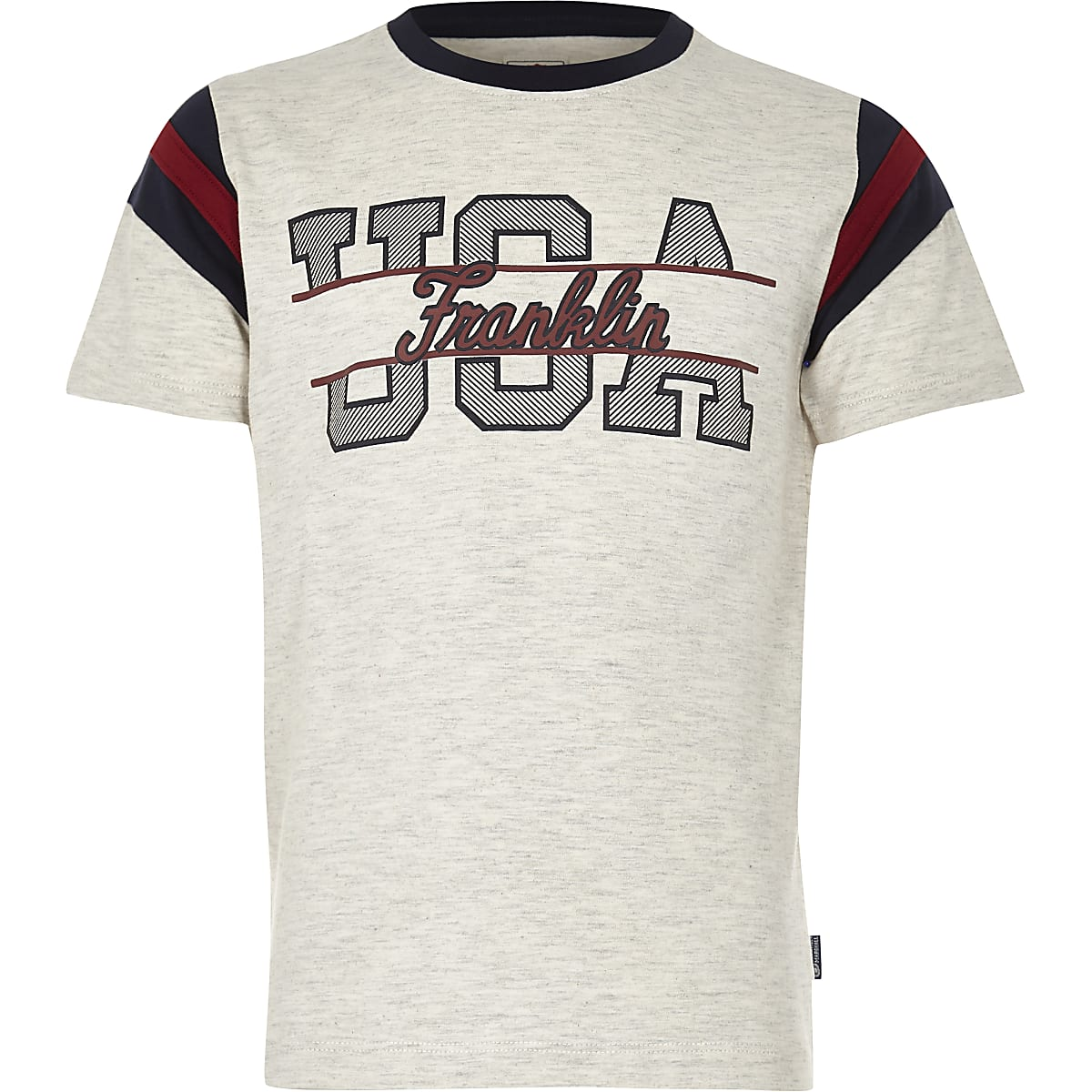 Franklin & Marshall - Gemêleerd T-shirt met 'USA'-print voor jongens