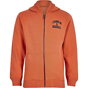 Franklin & Marshall – Hoodie in Orange mit Reißverschluss