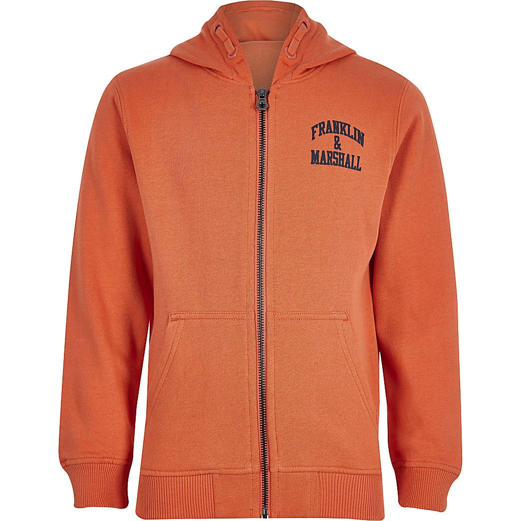 Boys Franklin & Marshall orange zip hoodie
