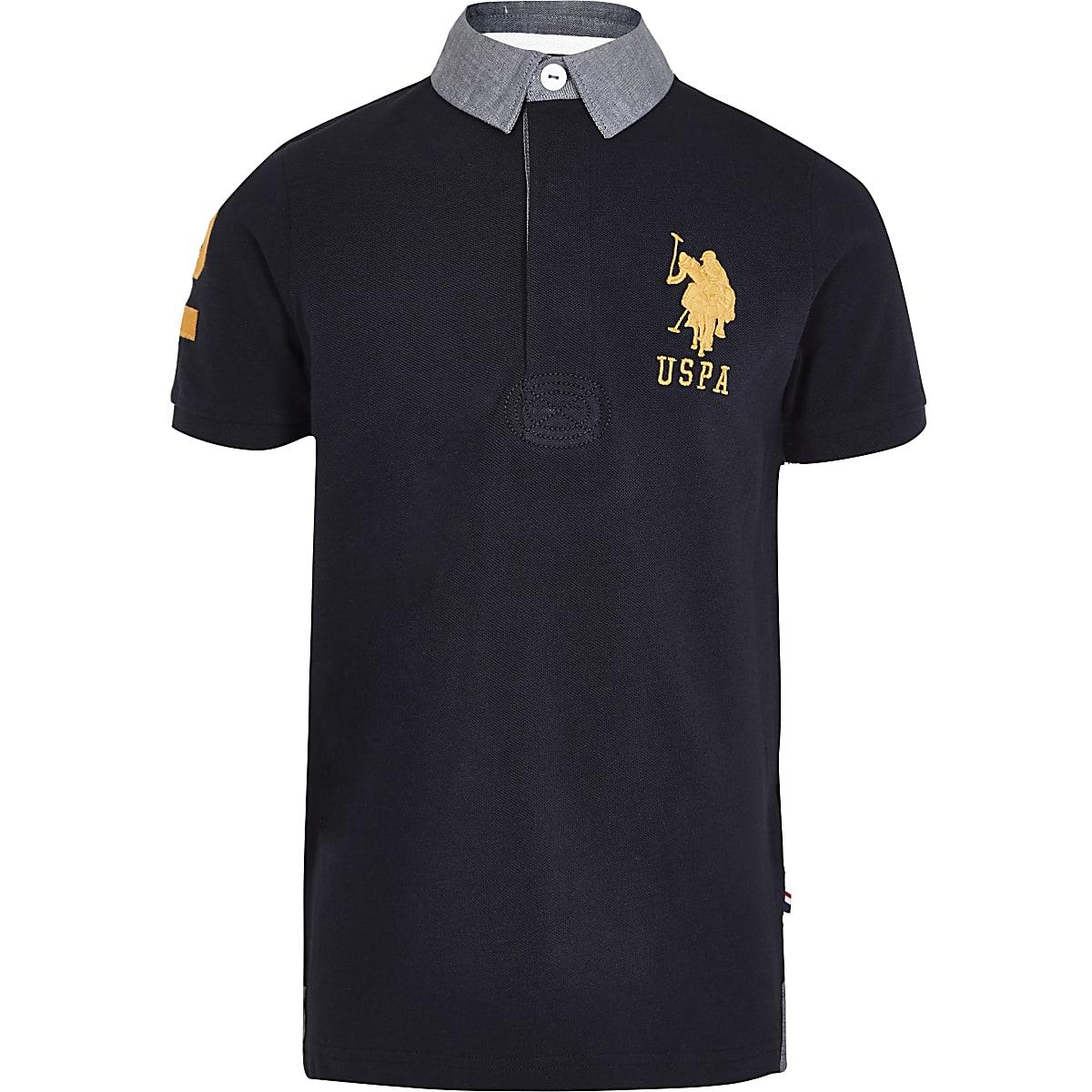 Boys navy U.S. Polo Assn. polo shirt