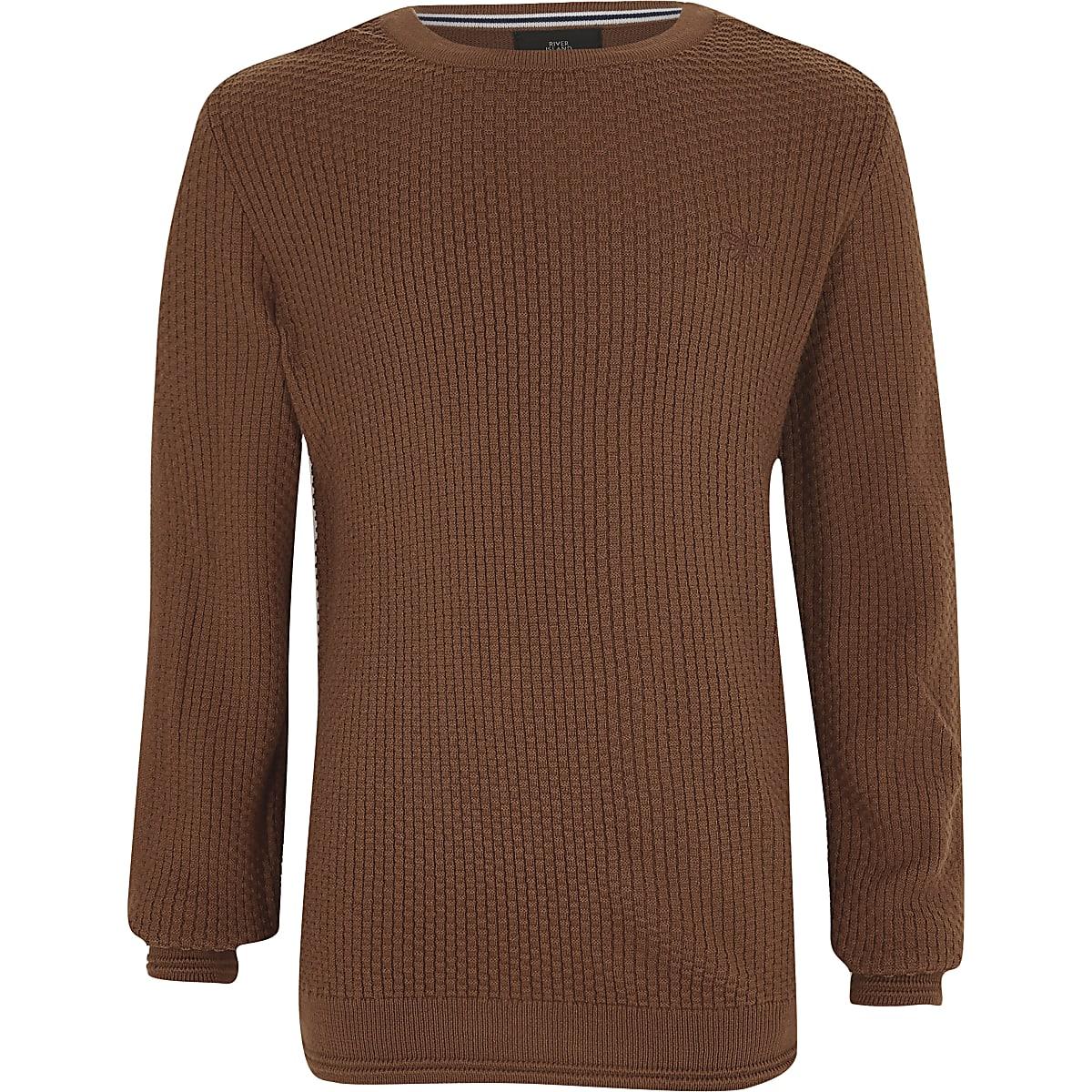 Boys brown textured jumper