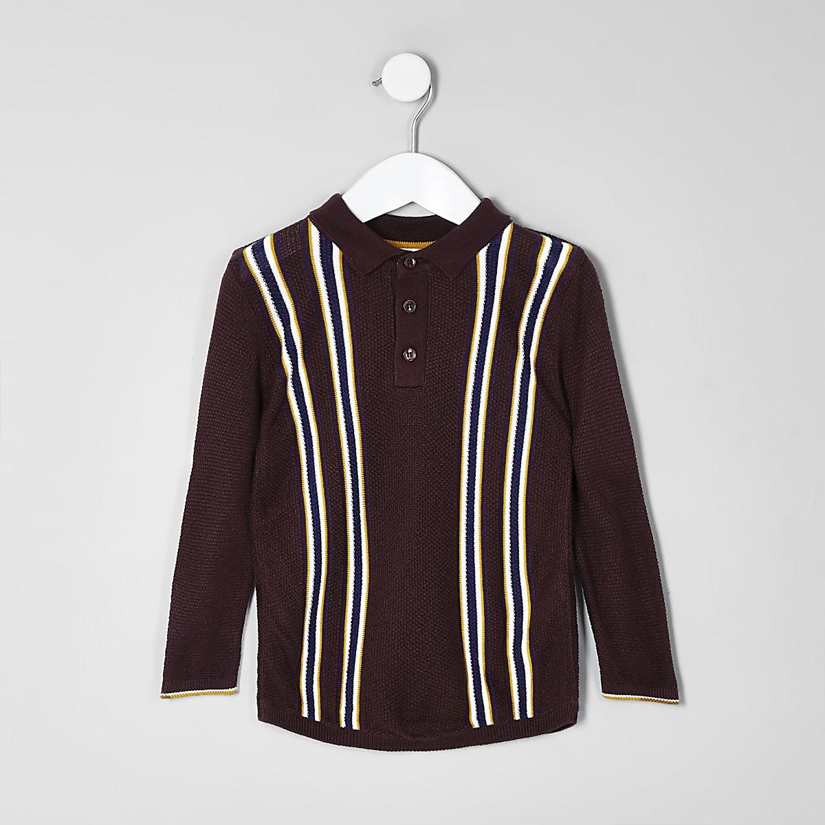 Mini boys purple stripe polo T-shirt