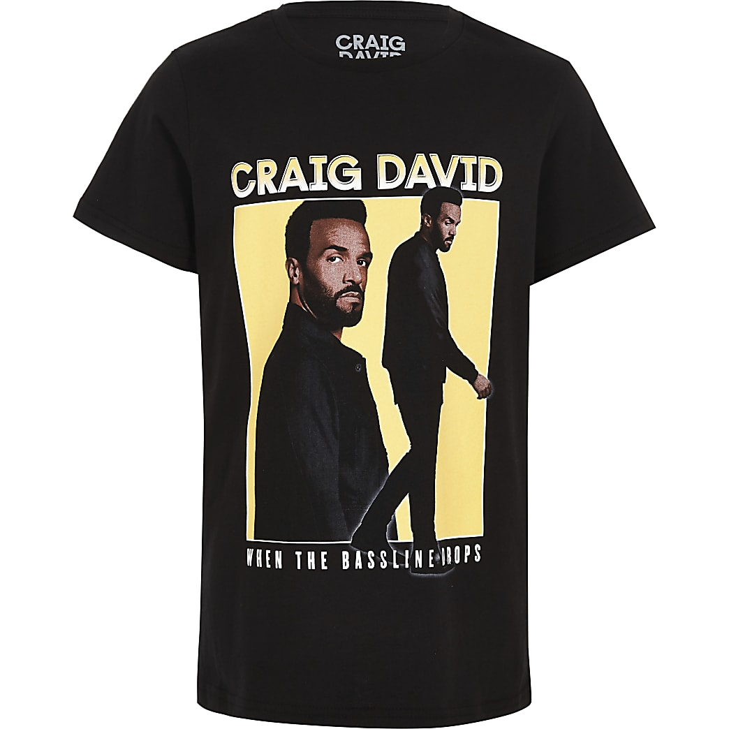 Boys black Craig David print T-shirt