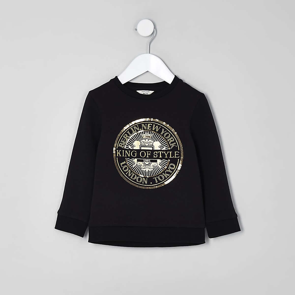 Mini boys black 'King of style' sweatshirt