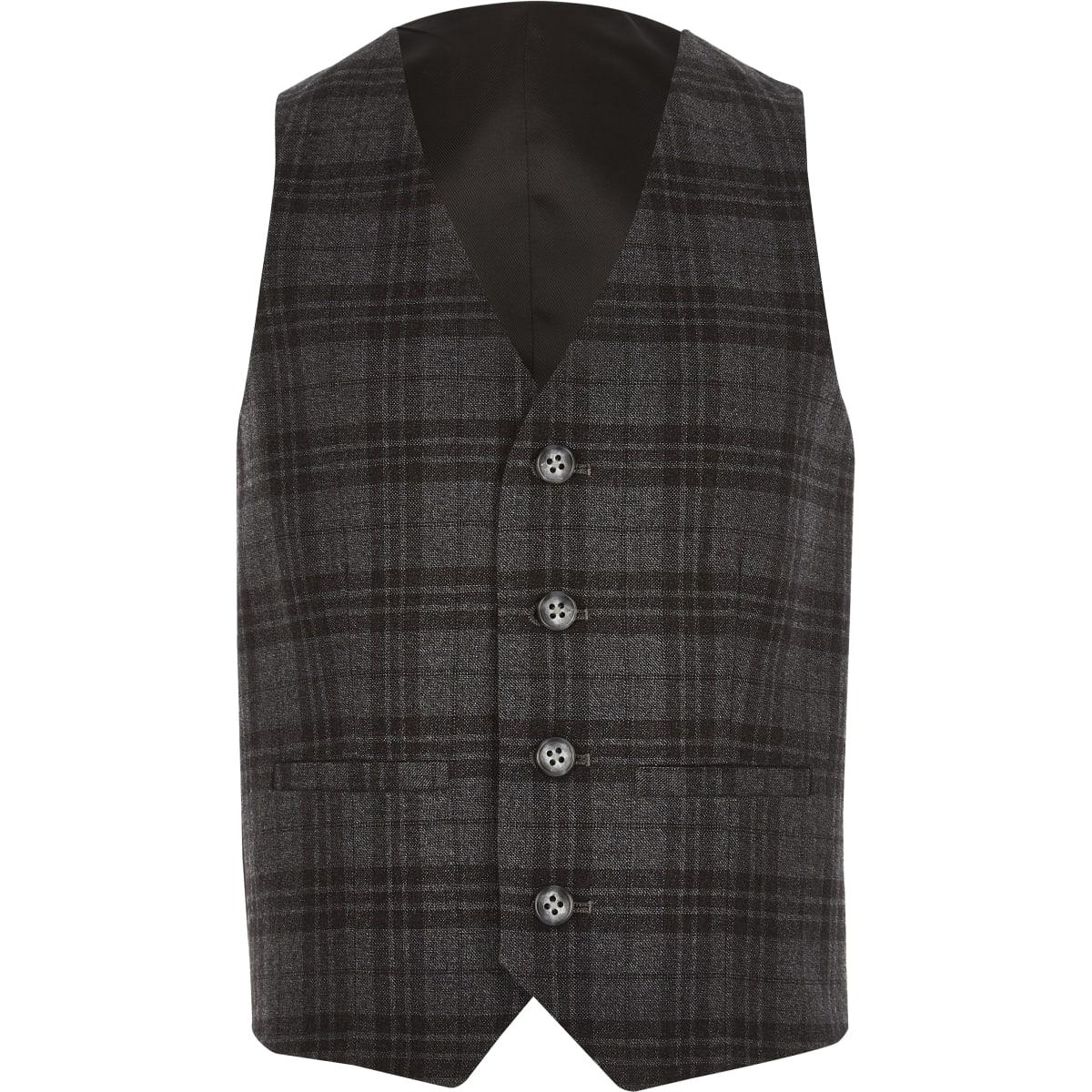 Boys grey check suit vest