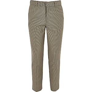 Boys brown check cropped skinny pants