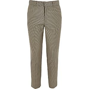 Boys brown check cropped skinny pants
