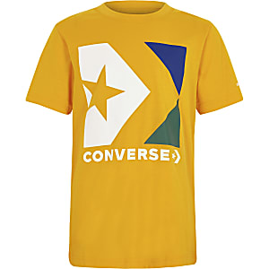 Boys Converse yellow logo T-shirt