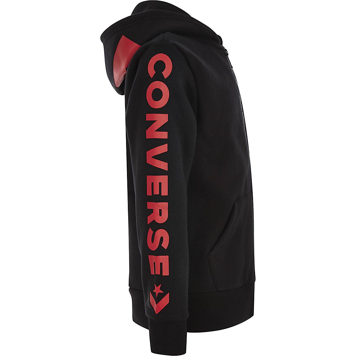 Boys Converse black zip up tracksuit hoodie