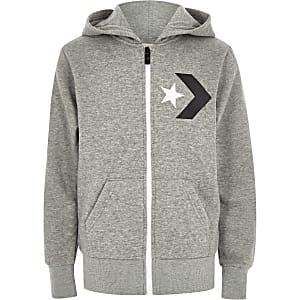 Converse - Grijze sportieve hoodie met rits voor jongens