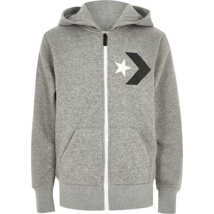 Boys Converse grey zip up tracksuit hoodie