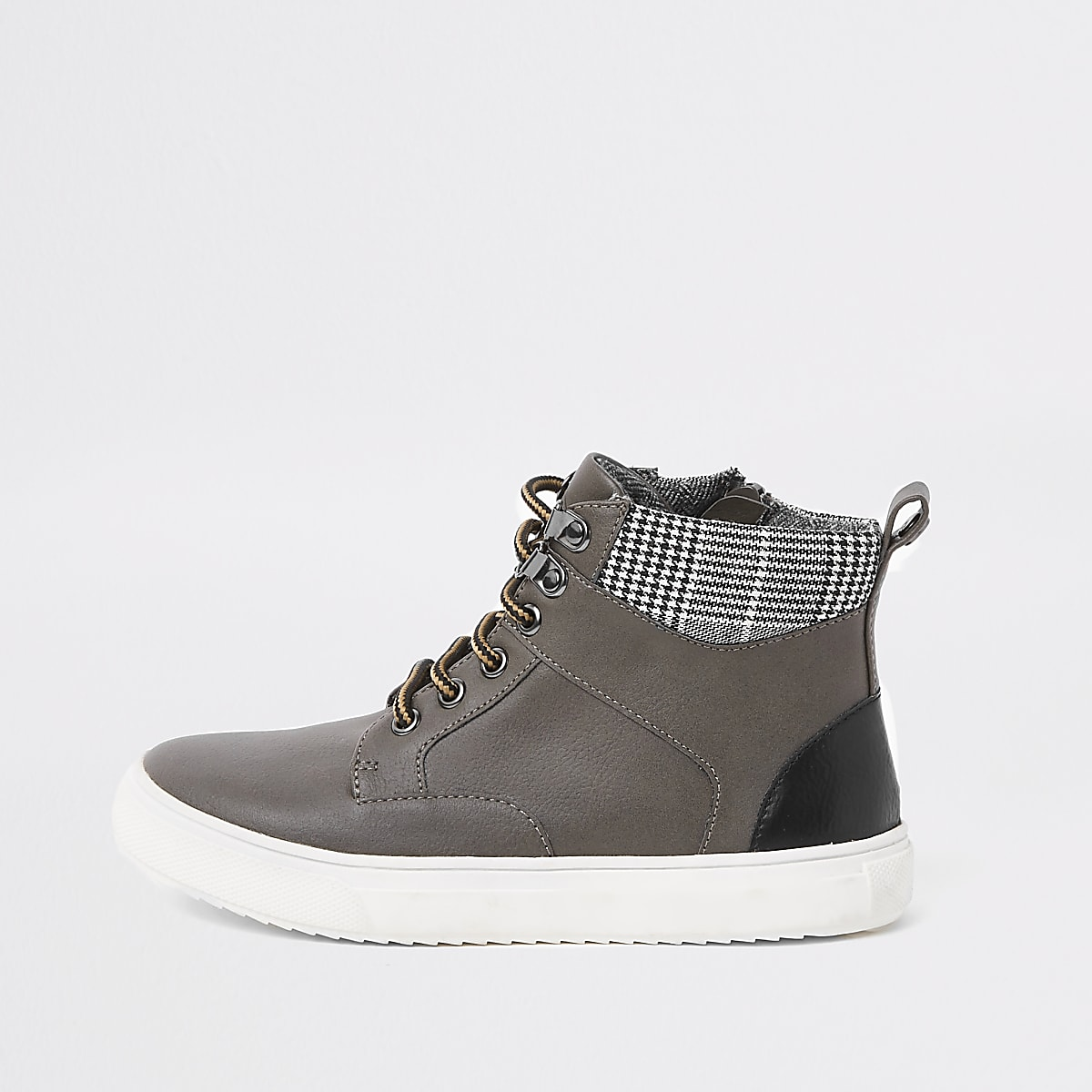 Boys grey lace-up ankle boots