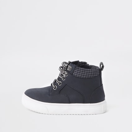 Mini boys navy lace-up boots