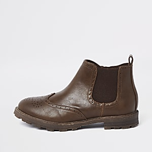 Boys brown brogue chelsea boots