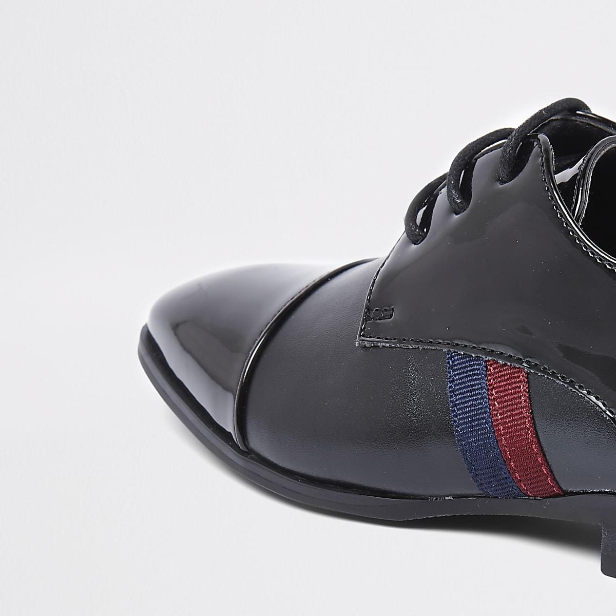 buy popular f29d3 e0114 Boys black patent tape side shoes