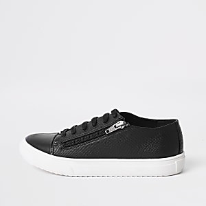Boys black zip side lace-up sneakers