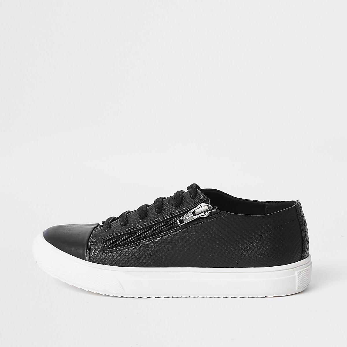 Baskets noires à lacets et zip latéral pour garçon