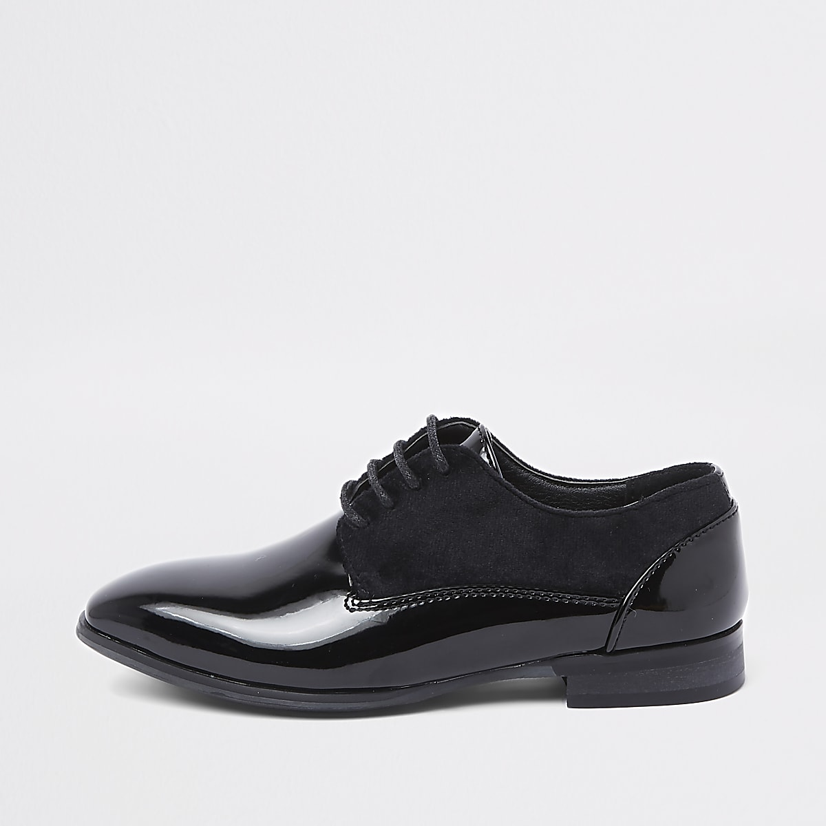 Boys black suede trim patent shoes