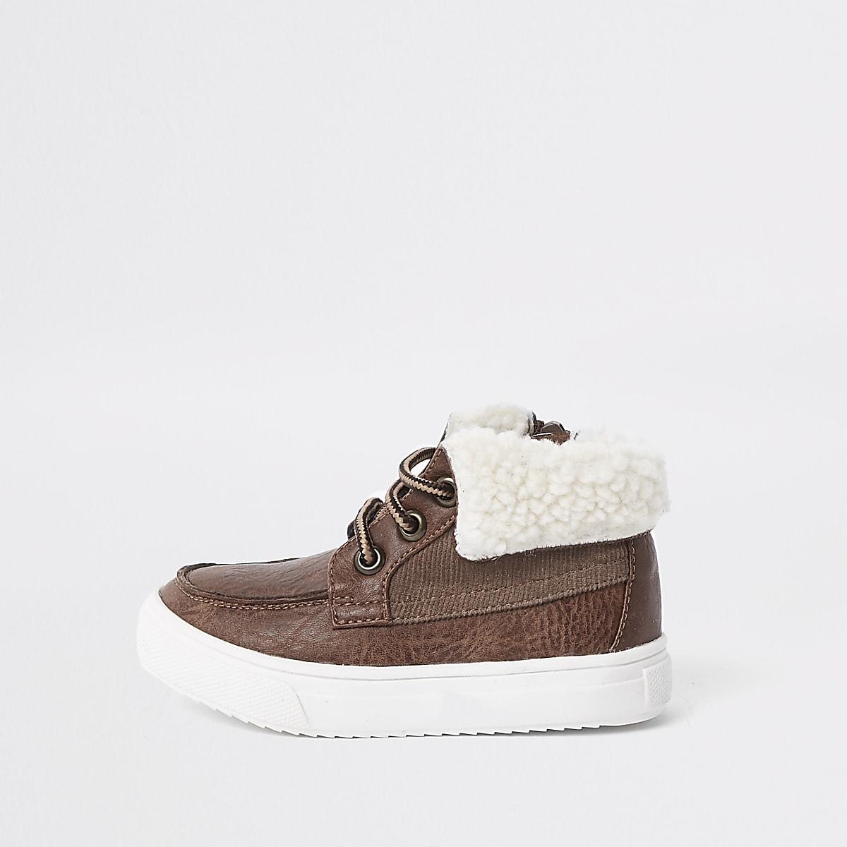 Mini boys brown fleece trim boots