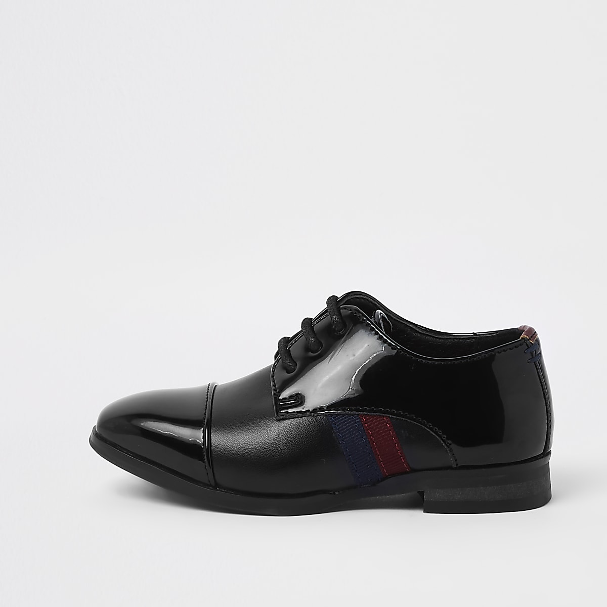 Mini boys black patent tape side shoes