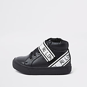 Mini boys black 'RI LDN' high top trainers
