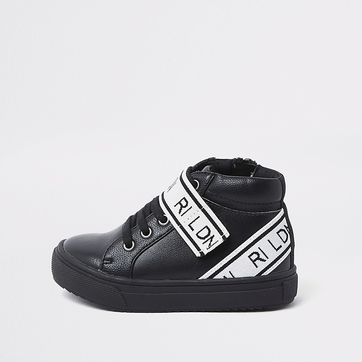 Mini boys black 'RI LDN' high top sneakers