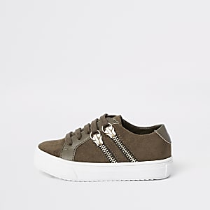 Mini boys khaki lace-up double zip sneakers