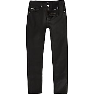 Sid - Zwarte gecoate skinny jeans voor jongens
