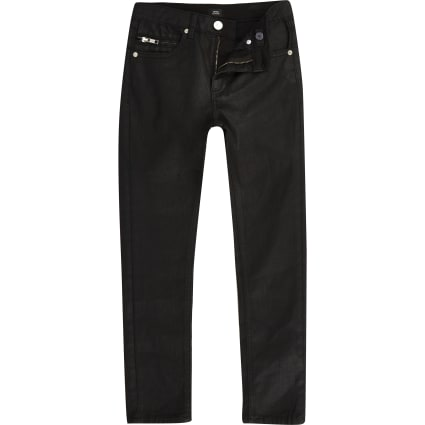Boys black Sid skinny coated jeans