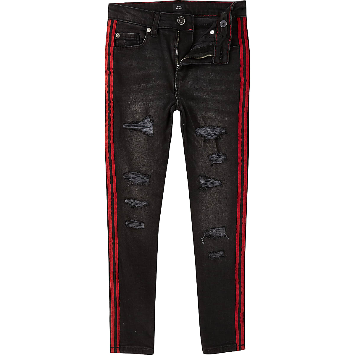 64379ac00f4 Boys black Danny skinny ripped tape jeans - Slim Jeans - Jeans - boys
