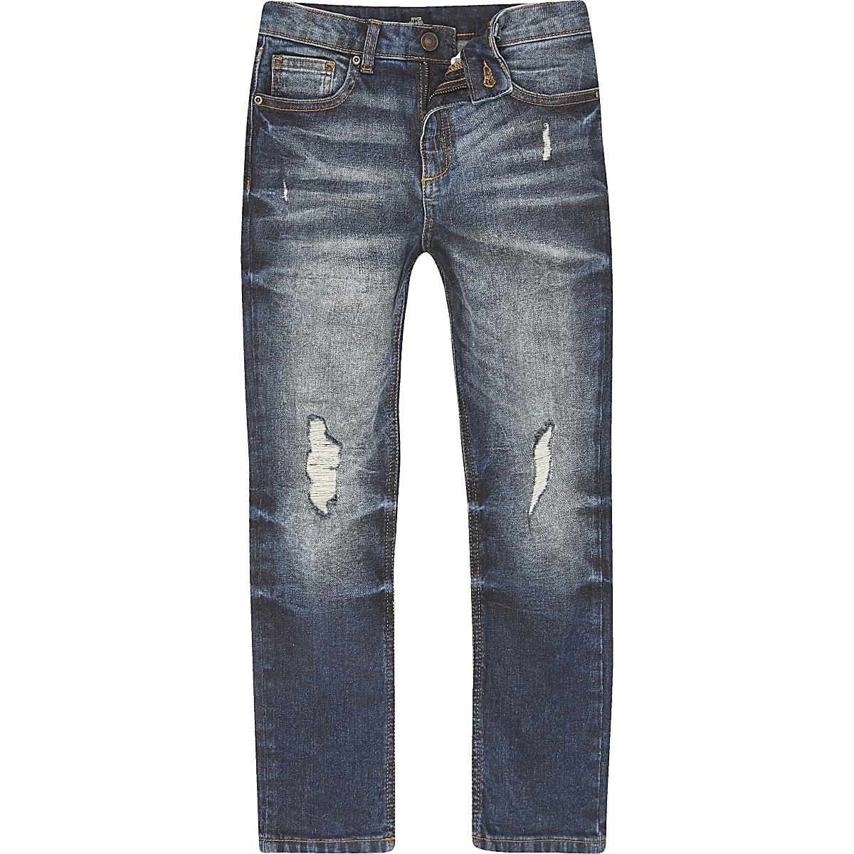 Dylan – Mittelblaue Slim Jeans im Used Look