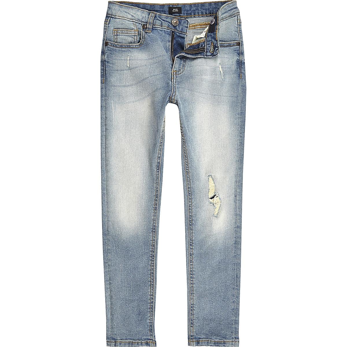 Boys light blue ripped Sid skinny jeans