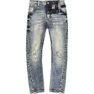 Boys blue denim wash ripped Tony slouch jeans