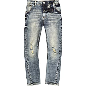 Tony - Blauwe denim wash ripped slouch-fit jeans voor jongens