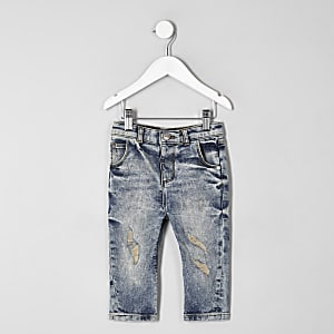 Mini - Tony - Blauwe wash ripped smaltoelopende jeans voor jongens