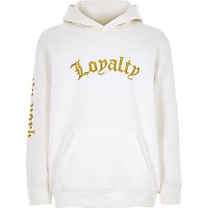 Sweat à capuche à broderie «loyalty» blanc pour garçon