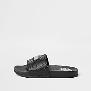 Boys black RI monogram sliders