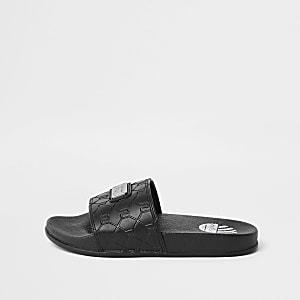 Zwarte slippers met RI-monogram voor jongens