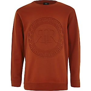 Boys orange RI embossed print sweatshirt